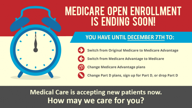 Medicare Open Enrollment Ends Dec. 7th